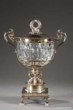 A silver and cut-crystal jam box, Charles X period, early part of nineteenth century