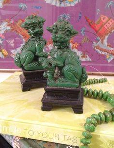 Green Ceramic Foo Dogs (Pair)-
