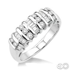 1/2 Ctw Round and Baguette Cut Diamond Wedding Band in 14K White Gold $1,199