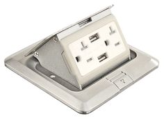 1 Pc, Pop Up Floor Box Kit, with USB ports & 20 Amp Receptacles, Stainless Steel (Silver) Floor Outlets, Wall Outlets, Kitchen Outlets, Roof Flashing, Hall Flooring, Gadget World, Electrical Outlets, Covered Boxes, Architecture