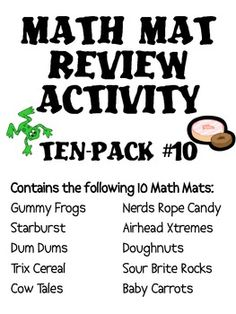 A set of 10 assorted math mat review activity sets.  I use these for spiral math review every Friday!  $10
