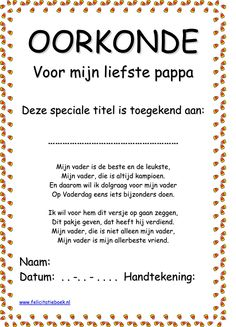 Oorkonde 'Voor mijn liefste pappa'. Fathers Day Crafts, Happy Fathers Day, Mother And Father, Mother Gifts, Daily Activities, Activities For Kids, Diy For Kids, Crafts For Kids, Diy Crafts