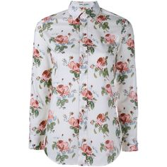 Saint Laurent Faded Floral Print Shirt ($775) ❤ liked on Polyvore featuring tops, oversized tops, floral top, pink shirt, pink floral shirt and pink top