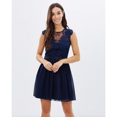 Lipsy Lace Top Prom Dress (160 AUD) ❤ liked on Polyvore featuring dresses, navy blue lace cocktail dress, navy prom dresses, lipsy, navy lace cocktail dress and navy blue cocktail dress