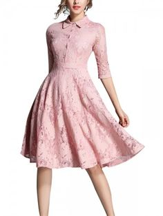 metisu Pink Hollow Out Lace Swing Midi Dress-S Evening Dresses Online, Midi Dresses Online, Dress Online, Beige Lace Dresses, Cami Midi Dress, Cute Dresses, Women's Dresses, Formal Dresses, African Fashion Dresses