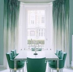 Dining Room | Tiffany Blue | Note the Ombré Curtains