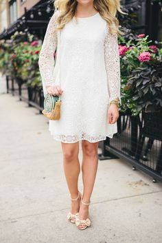 long sleeve white lace dress // @bowsandsequins
