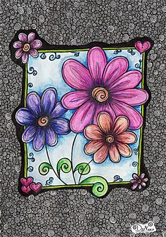 my own zentangle Art Doodle, Doodle Drawings, Doodles Zentangles, Zentangle Patterns, Art Journal Pages, Art Journals, Flower Doodles, Doodle Flowers, Art Journal Inspiration