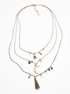 Free People Womens Cherish 3 Chain Necklace