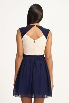 Little Mistress Cream & Navy Embellished Crossover Prom Dress
