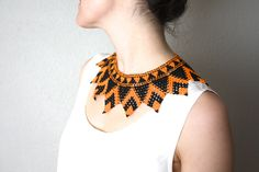 Vintage Beaded Tribal Collar Necklace by fringebetty on Etsy Collar Necklace, 1960s, Glass Beads, Big Project, Beading, Africa, Necklaces, Island, Silk