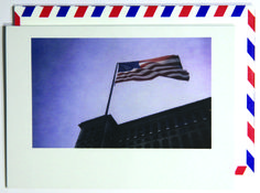 The flag still stands.  Polaroid shot in Detroit, USA. Each notecard is 3.5 x 4.9, printed on crisp, white 14 pt. stock and tucked into a nostalgic airmail envelope.