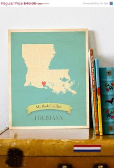 SALE 25 OFF Louisiana Roots Map 11x14 Customized Print by MyRoots