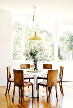 Modern yet rustic dining space