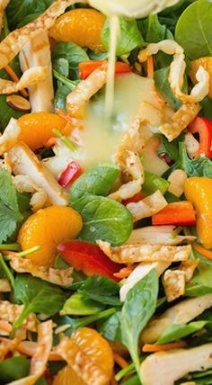 How to make this wonderful tasting salad that has mandarine orange, spinach, and so much more. Mandarine orange Spinach Salad with Chicken and Lemon Honey Ginger Dressing ~ out of this world delicious! Healthy Salads, Healthy Eating, Healthy Recipes, Taco Salads, Fruit Salads, Good Salad Recipes, Salad With Fruit, Salad Bar, Soup And Salad