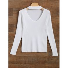 17.26$  Watch now - http://diu2m.justgood.pw/go.php?t=201867302 - Cut Out V Neck Ribbed Choker Jumper 17.26$