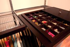 elfa pull-out jewelry organizer in master walk-in closet