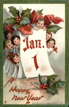A Happy New Year - Group of Kids Hiding Behind Calendar - Vintage Holiday Art (Art Prints, Giclees, Vintage Happy New Year, Happy New Year Gif, Happy New Year Images, Happy New Year Quotes, Happy New Year Cards, New Year Wishes, New Year Greetings, Vintage Greeting Cards, Vintage Christmas Cards