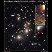 Hubble Finds Extremely Distant Galaxy through Cosmic Magnifying Glass