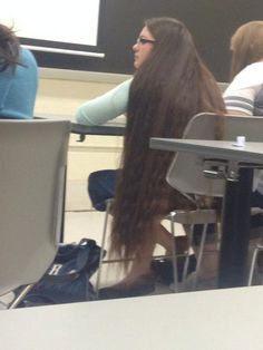 In a classroom Beautiful Long Hair, Gorgeous Hair, Rapunzel Hair, Long Brown Hair, Super Long Hair, Dream Hair, Hair Lengths, Cool Hairstyles, Wigs