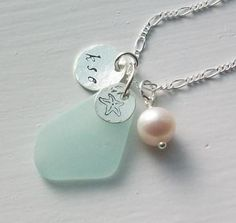 sea glass necklace ~~~