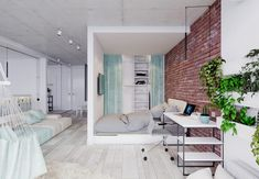 HOME DESIGNING: 4 Bright Studio Apartments With Creative Bedroom Placement http://www.davincilifestyle.com/home-designing-4-bright-studio-apartments-with-creative-bedroom-placement/         Like Architecture & Interior Design? Follow Us…  Deciding how to handle the sleeping situation is one of the most challenging aspects of designing a studio apartment, requiring a lot of forethought to match the lifestyle preferences of the resident while working around any arc