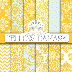 Damask digital paper: YELLOW DAMASK with by royaldigitalstore
