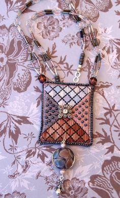Needlepoint Pendant Beaded Necklace