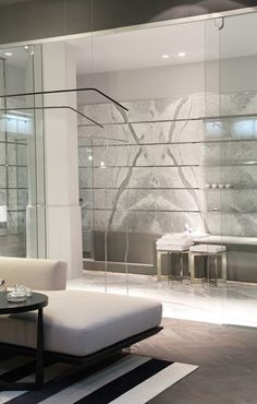Marble wall with integrated shelves