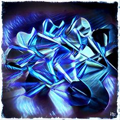 """Perles d'aluminium - bleu"" Création numérique  Format et support libres - Tirage unique - Disponible. © Caroline Sheid - Tous droits réservés. #Artisanat; #upcycling; #aluminium; #KRosHandMade; #art; #digitalart"
