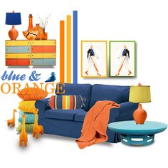 Color Challenge: Blue and Orange by betiboop8 on Polyvore featuring interior, interiors, interior design, home, home decor, interior decorating, Jonathan Adler, Urban Outfitters, Kosta Boda and Kay Bojesen