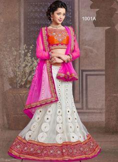 Pink And White Net With Work Santoon Inner Lehenga Choli
