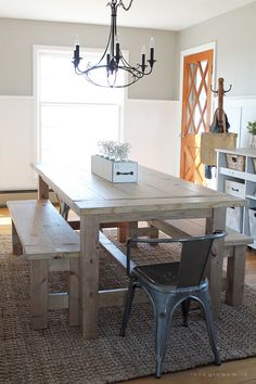 This large farmhouse table seats 8+ and adds great rustic charm to your dining room. I would add cushions and backing for support!