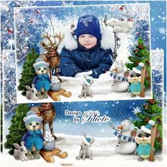 Free baby winter frame psd for kids photo with trees, snowman and animals - Free download