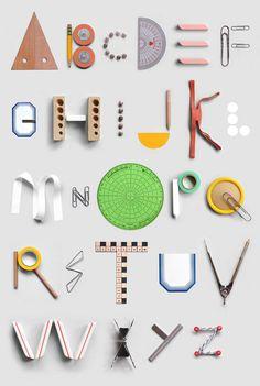 文房具で作ったキュートなアルファベット by PRESENT & COLLECT