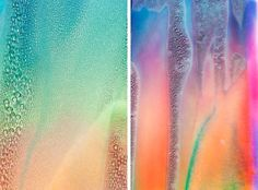 """Melting Rainbows series by Taisuke Koyama.  The inkjet prints of """"Rainbow Form"""" were placed in the balcony of my room and the changing process of the surface was observed and photographed."""
