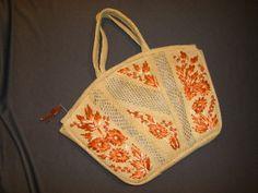 Vintage Straw Purse with Orange Raffia Flowers by plarnstar