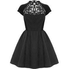Coast Arletta Short Dress (£115) ❤ liked on Polyvore featuring dresses, vestidos, short dresses, black, full a line skirt, sleeve prom dresses, short mini dress, mini prom dresses and mini dress