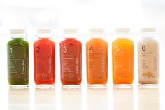 Cold-pressed juice lineup.  This is a product our target consumers buy.  We like a coloring concept that represents the ingredients.