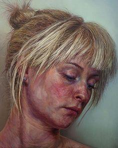 Artist: Ian Cumberland (b. 1983), oil on linen {figurative art blonde female head woman face portrait texture painting #loveart} iancumberland.com