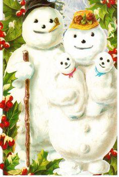 Snow Family Christmas card -  Sent to Postcrosser in Germany. <> (snow folk, snow people, winter, Christmas)
