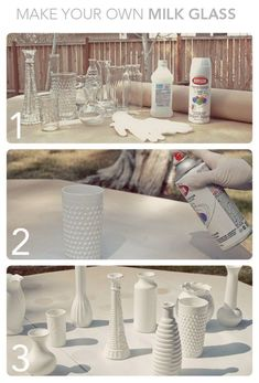 reuse old vases, bottles or jars.paint them all one color and you can use them as centerpieces Cute idea.reuse old vases, bottles or jars.paint them all one color and you can use them as centerpieces Old Vases, Diy Décoration, Bottles And Jars, Paint Bottles, Glass Bottles, Decoration Table, Crafty Craft, Crafting, Center Pieces