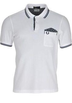 FRED PERRY Drake's Medallion Trim Polo Shirt in Crisp White available to purchase online at www.mcelhinneys.com