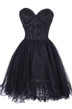 Black Beaded Embellished Sweetheart Short Tulle Homecoming Dress