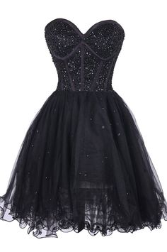 Black Beaded Embellished Sweetheart Short Tulle Homecoming Dress