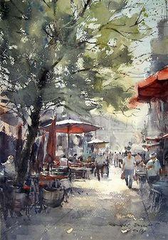 Direk Kingnok Watercolor artist Street in Chinatown, Bangkok. 36 x 50 cm.