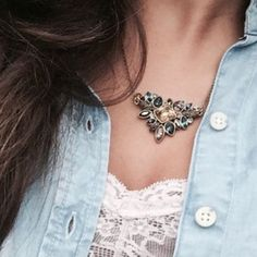 Statement Necklace Tons of color and beautiful on all skin tones this necklace is one of our most popular. Hypoallergenic, lead and nickel. Ocean Jewelers Jewelry