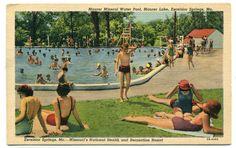 Swimming Pool Maurer Lake Excelsior Springs Missouri postcard in United States > Missouri > Other U.s. States, United States, Excelsior Springs, Mineral Water, Vintage Postcards, Kansas City, Missouri, Swimming Pools, Dolores Park