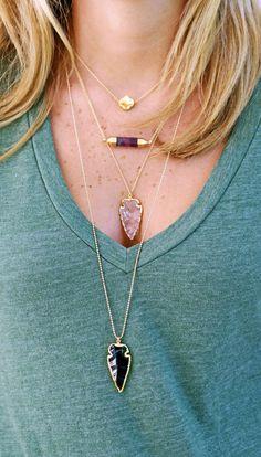 Collier arrowhead noir obsidienne par keijewelry sur Etsy