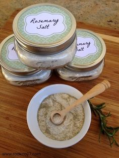 DIY Gourmet Food Gift: Rosemary Salt.  Have 5 minutes?  Then you can make this delicious, inexpensive gourmet food gift.  My family loves it.  We use it on almost everything.  It's our new favorite seasoning and is so easy to make!